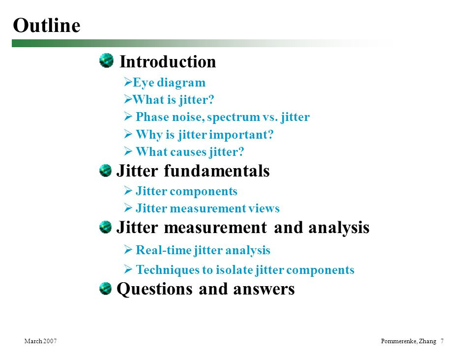 Outline Introduction Jitter fundamentals