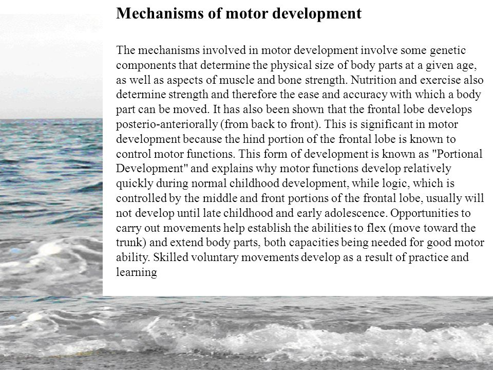 mechanisms of motor development Ward researchers who specialize in motor development, we use research on  motor  treating elapsed time as a developmental mechanism, we suggest that.