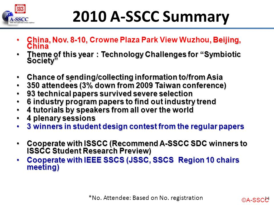 2010 A-SSCC Summary China, Nov. 8-10, Crowne Plaza Park View Wuzhou, Beijing, China.