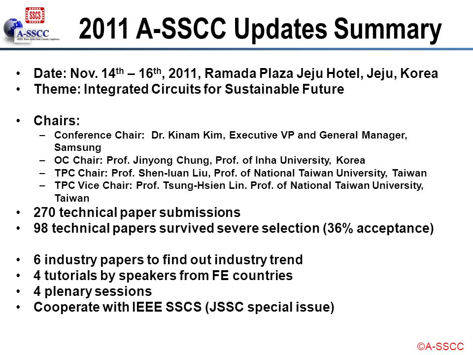 2011 A-SSCC Updates Summary