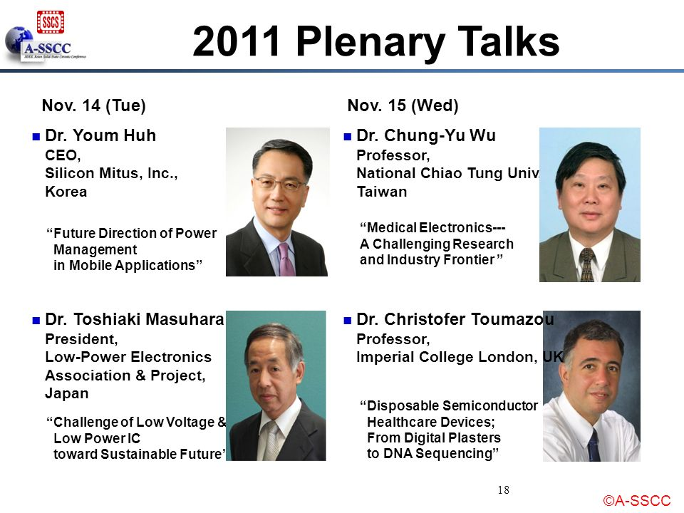 2011 Plenary Talks Nov. 14 (Tue) Nov. 15 (Wed)