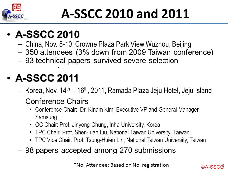 A-SSCC 2010 and 2011 A-SSCC 2010 A-SSCC 2011