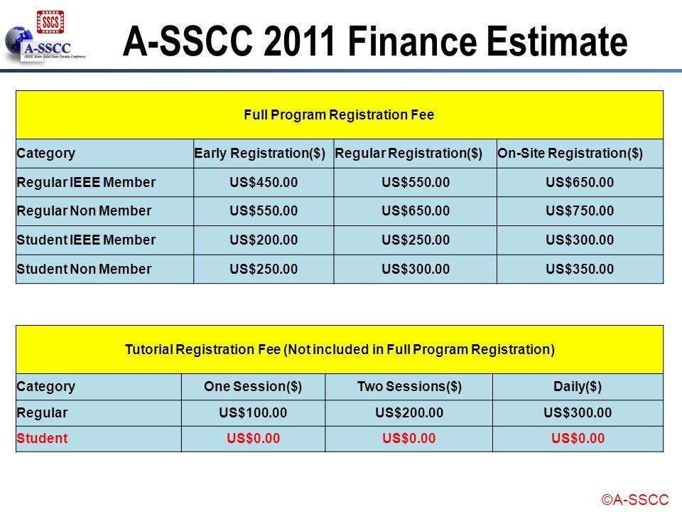 A-SSCC 2011 Finance Estimate