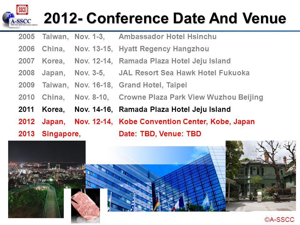 2012- Conference Date And Venue