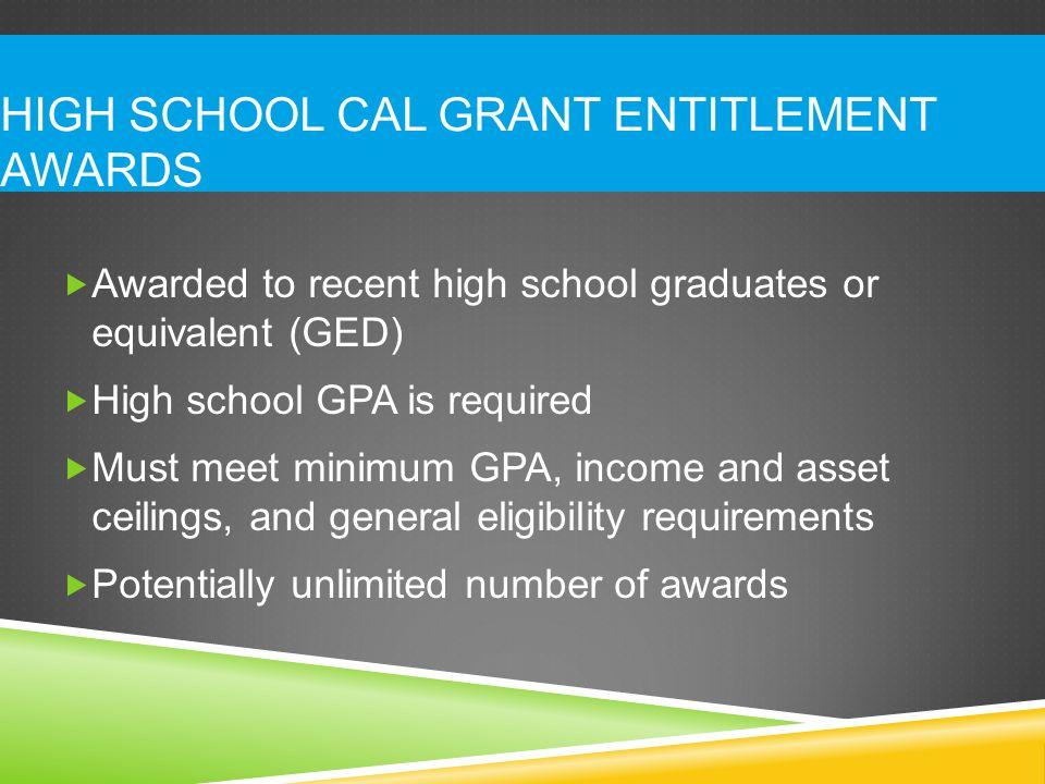 High School Cal Grant Entitlement Awards
