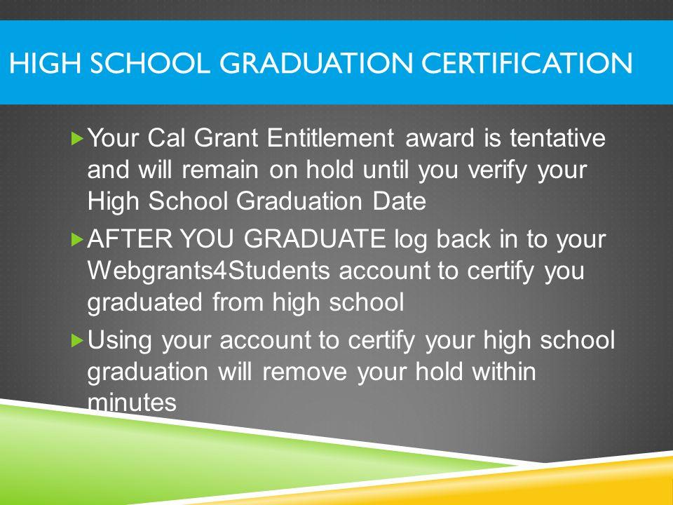 High School Graduation Certification