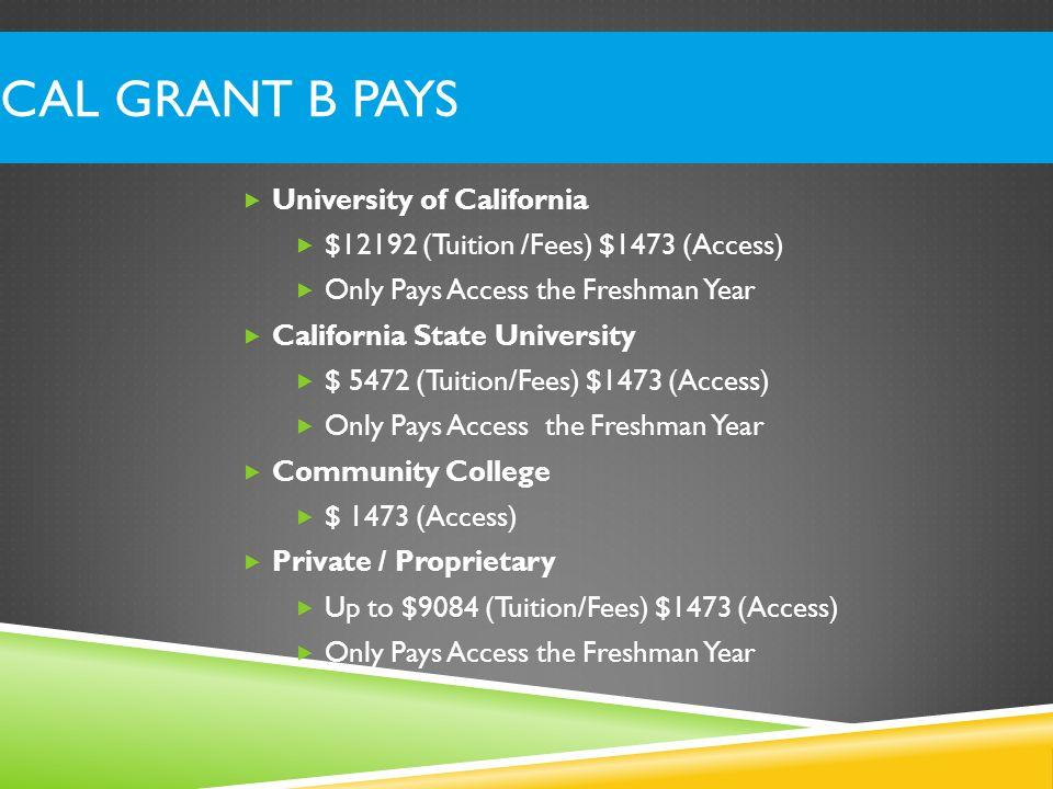 Cal Grant B Pays University of California