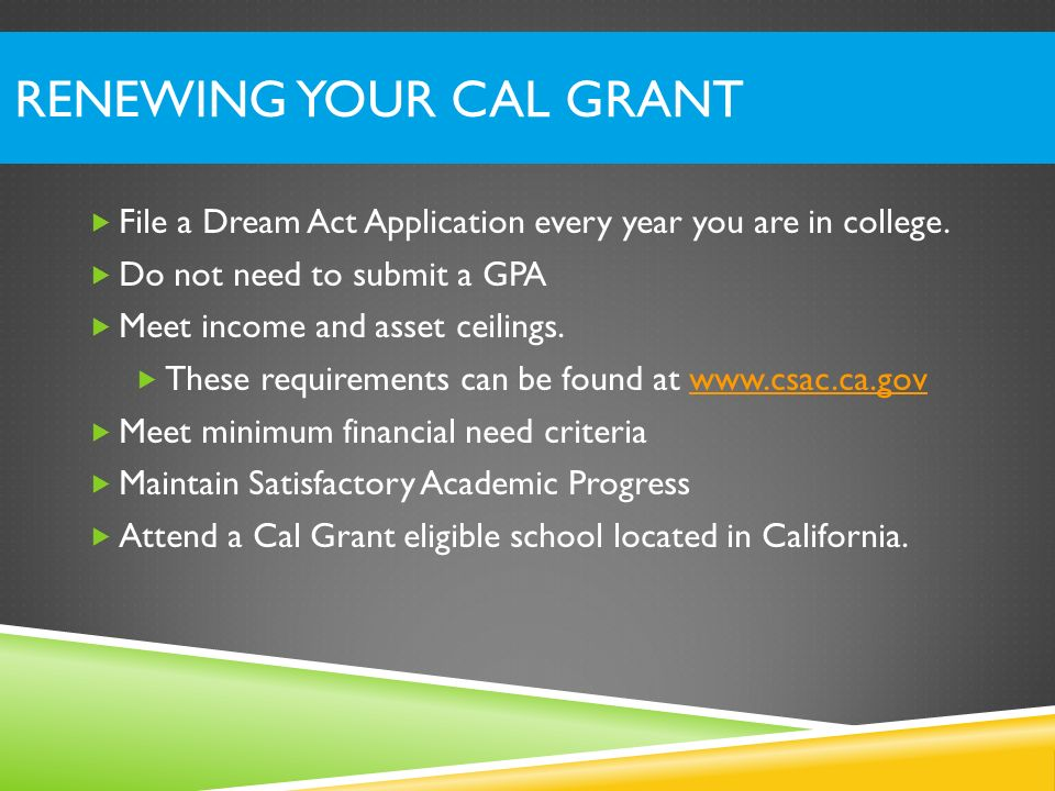 Renewing Your Cal Grant