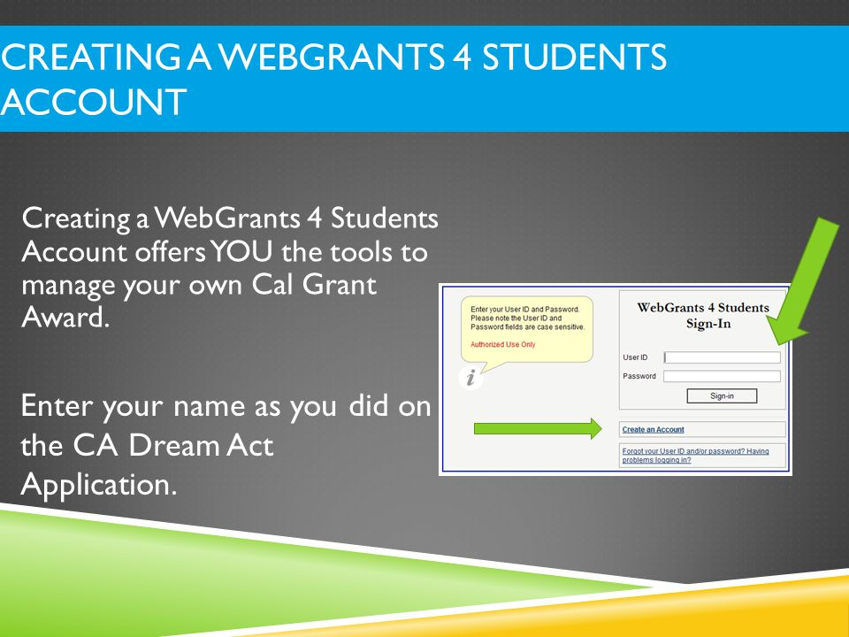 Creating a WebGrants 4 Students Account