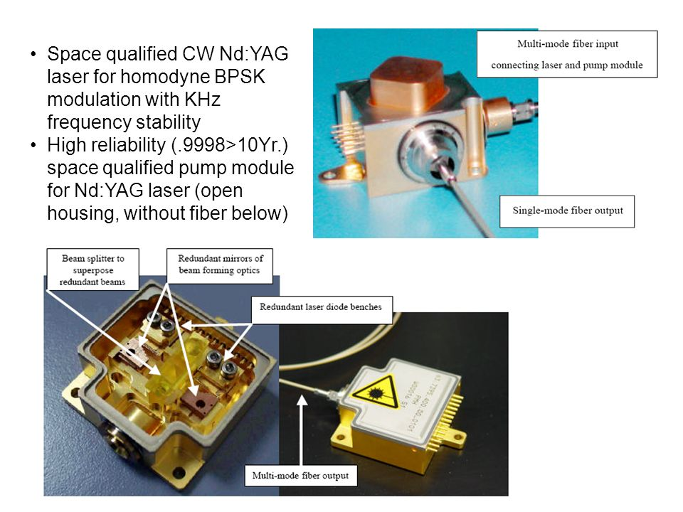 Space qualified CW Nd:YAG laser for homodyne BPSK modulation with KHz frequency stability