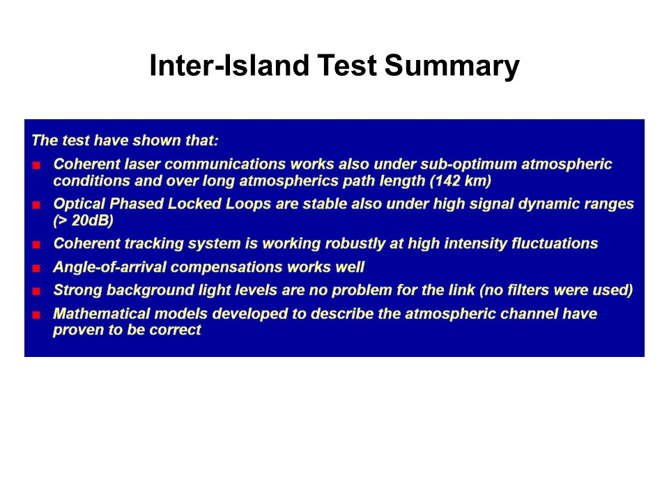 Inter-Island Test Summary