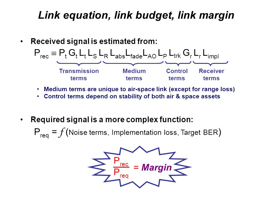 Link equation, link budget, link margin