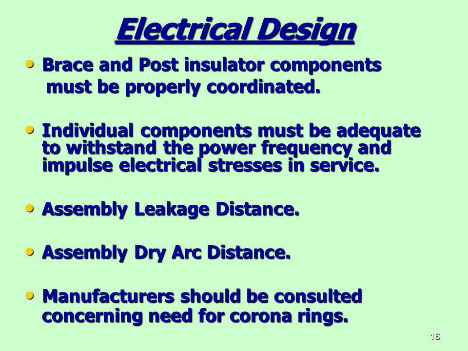 Electrical Design Brace and Post insulator components