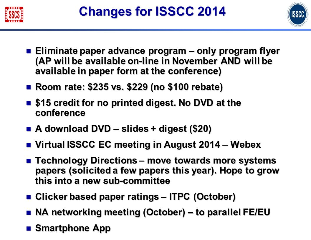 Changes for ISSCC 2014