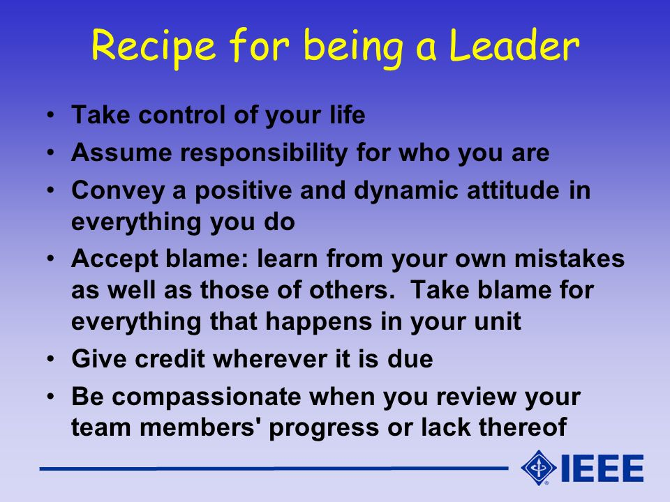 Recipe for being a Leader