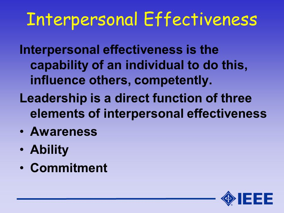 Interpersonal Skills and Self Development