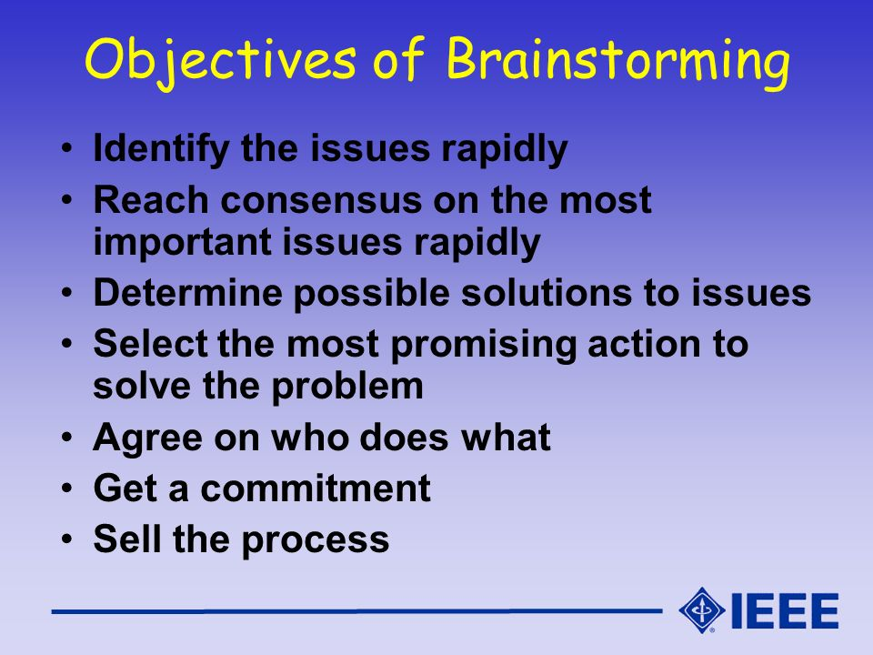Objectives of Brainstorming
