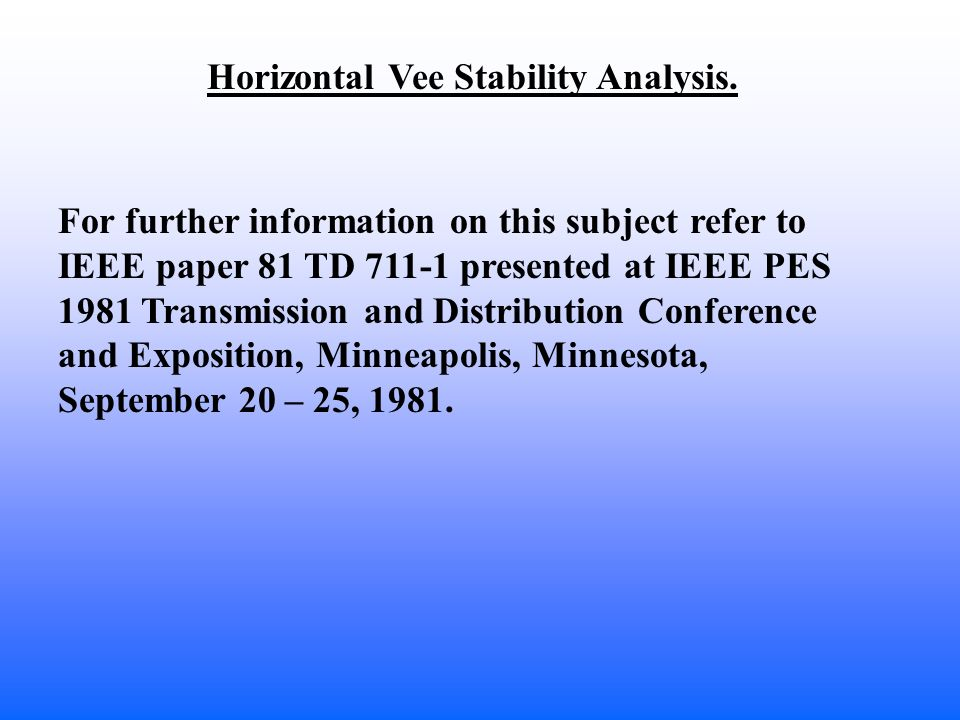 Horizontal Vee Stability Analysis.