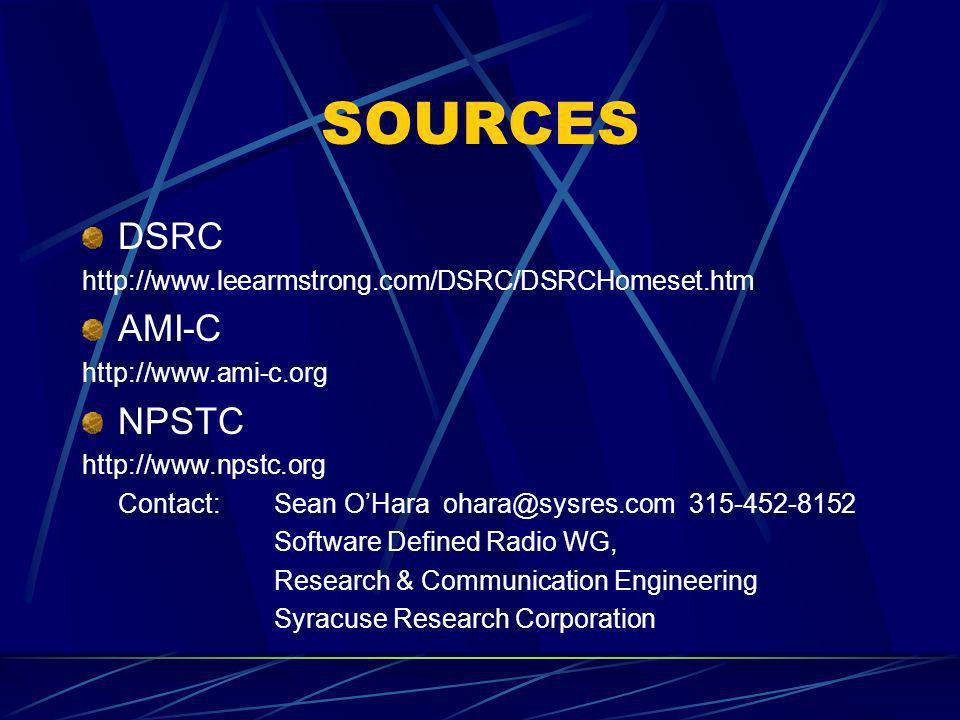 SOURCES DSRC AMI-C NPSTC