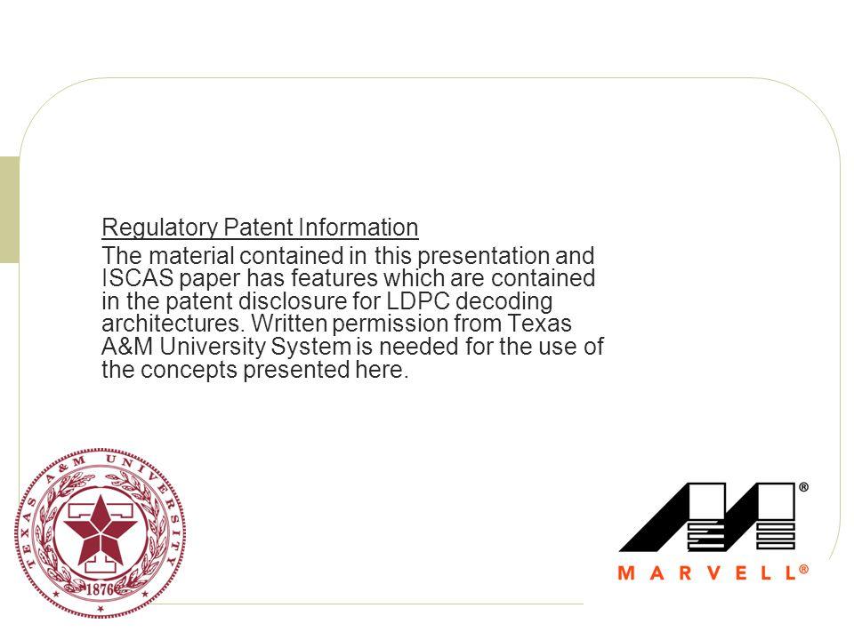 Regulatory Patent Information