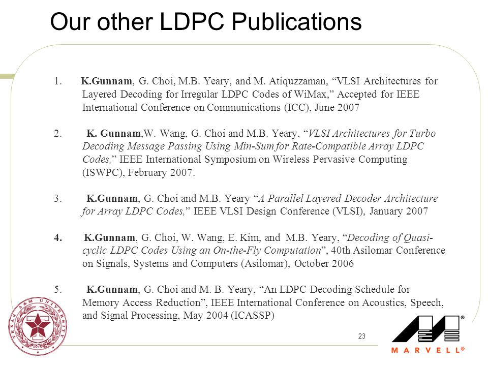 Our other LDPC Publications