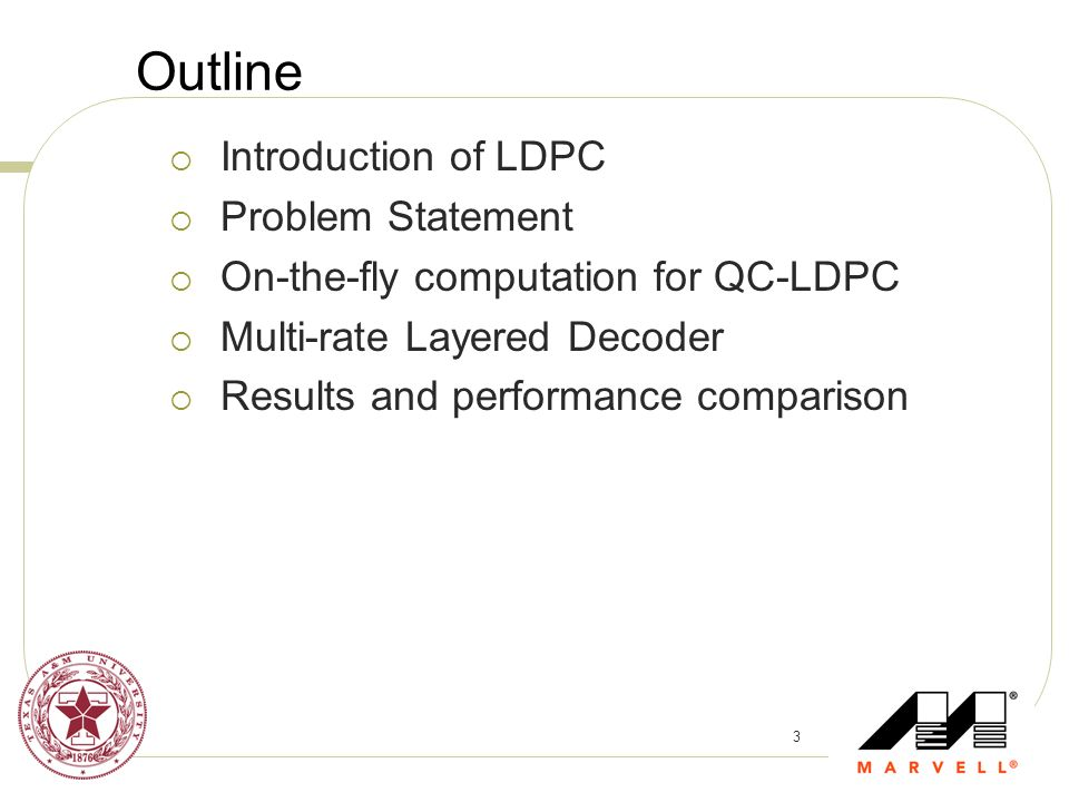 Outline Introduction of LDPC Problem Statement