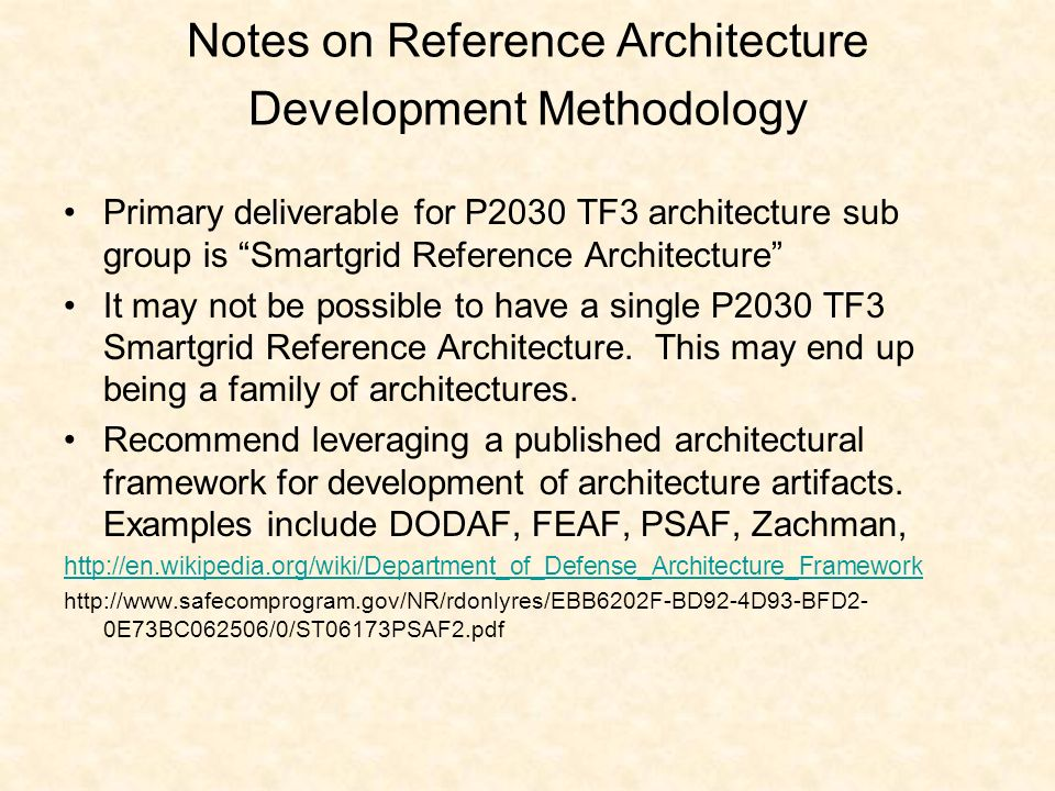 Notes on Reference Architecture Development Methodology