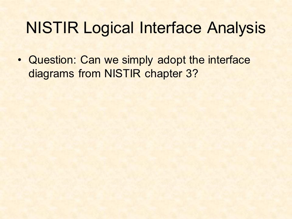 NISTIR Logical Interface Analysis