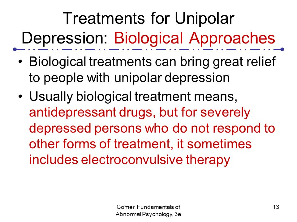 "evaluate the biological treatments of depression The biological treatment is drug therapy a 8-mark ""evaluate"" question awards 4 marks for describing biological treatments."