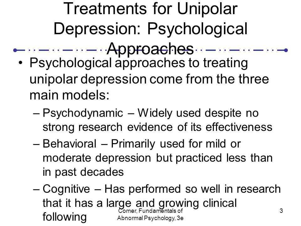 abnormal psychology unipolar and bipolar depression Bipolar is regarded as a mood diso  (unipolar) depression with psychotic symptoms  browse other questions tagged abnormal-psychology psychiatry or ask your own.