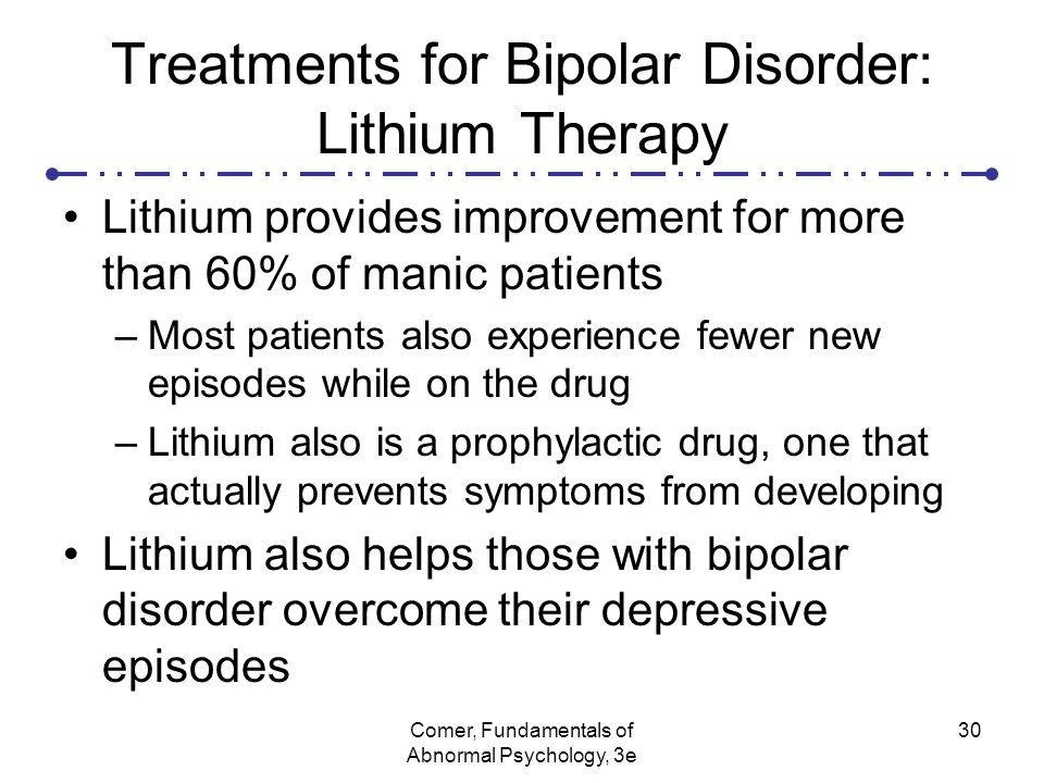 Symptoms and treatment of bipolar disorder