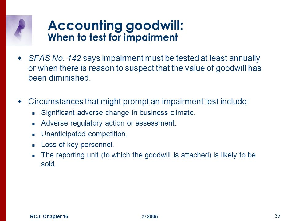 goodwill impairment testing essay After the impairment testing, goodwill associated with the spanish operations impairs under  reproductive health among adolescent girls health and social care essay.