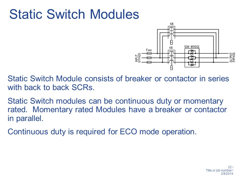 Static Switch Modules Static Switch Module consists of breaker or contactor in series with back to back SCRs.