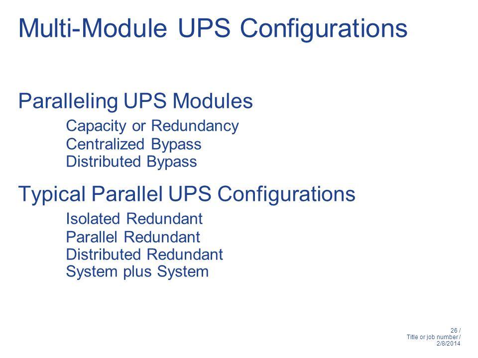 Multi-Module UPS Configurations