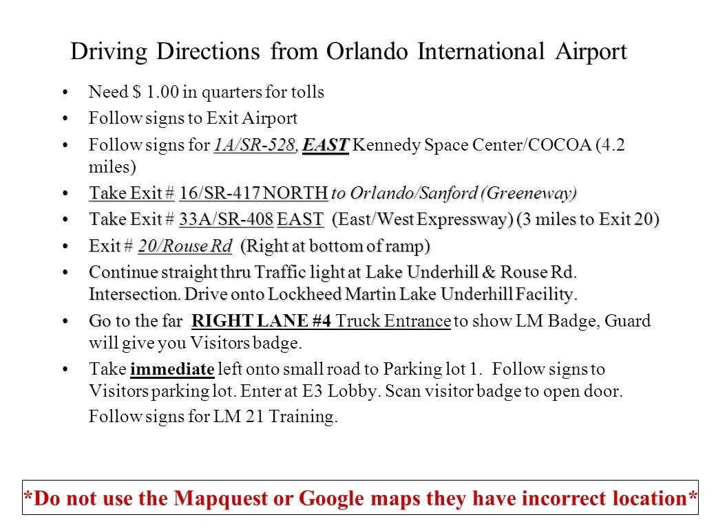 Driving Directions from Orlando International Airport