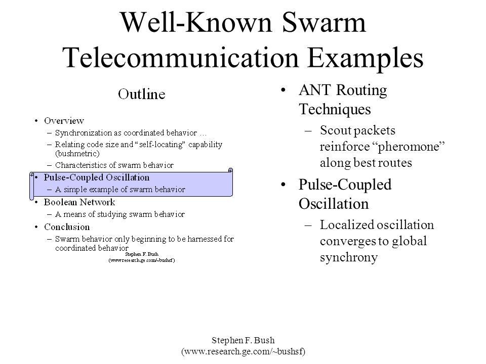 Well-Known Swarm Telecommunication Examples