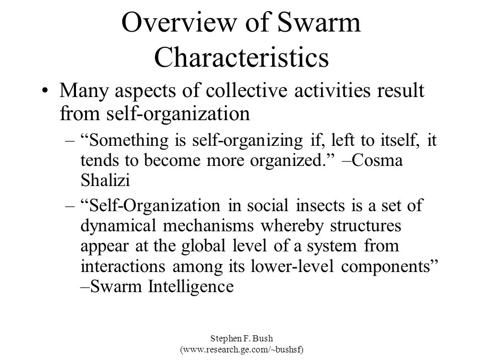 Overview of Swarm Characteristics