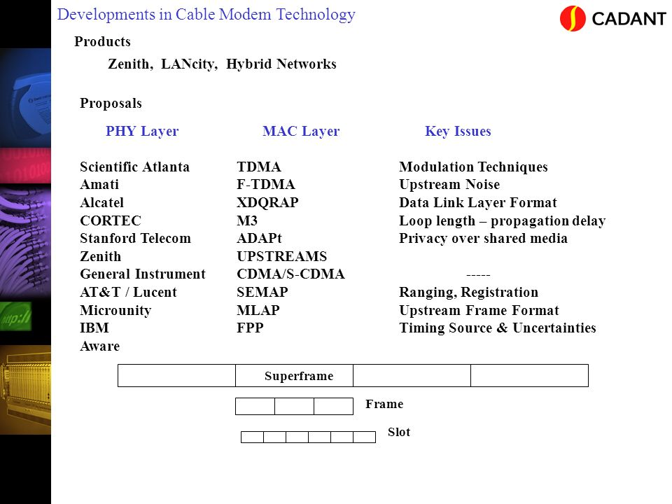 Developments in Cable Modem Technology