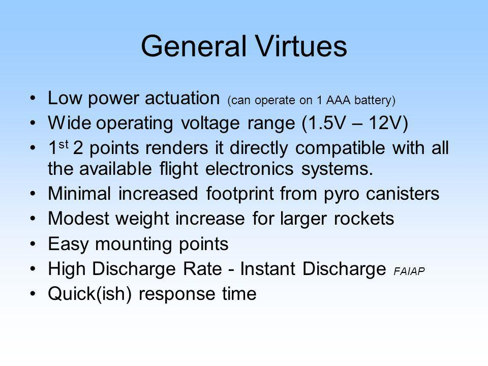 General Virtues Low power actuation (can operate on 1 AAA battery)