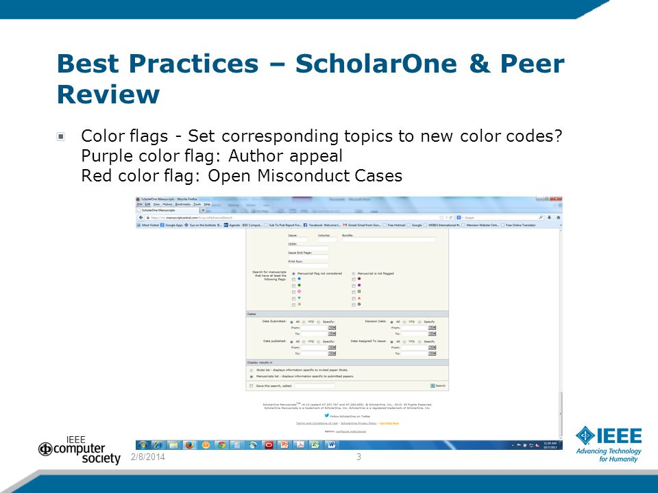 Best Practices – ScholarOne & Peer Review