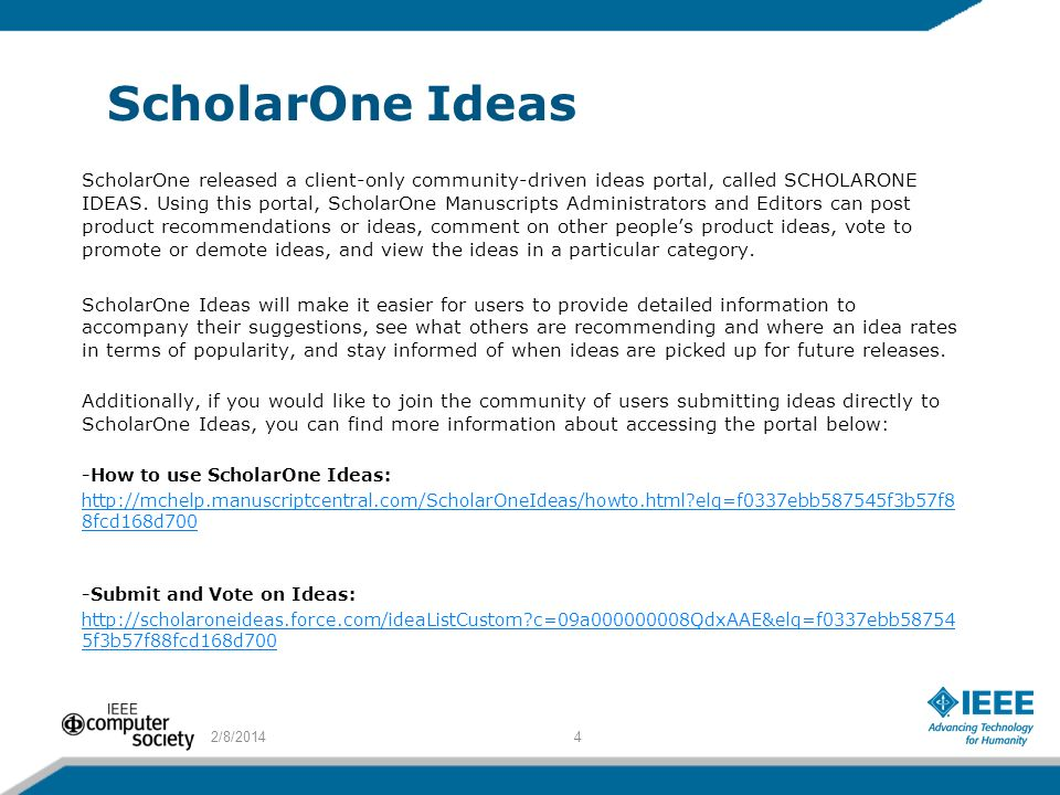 ScholarOne Ideas