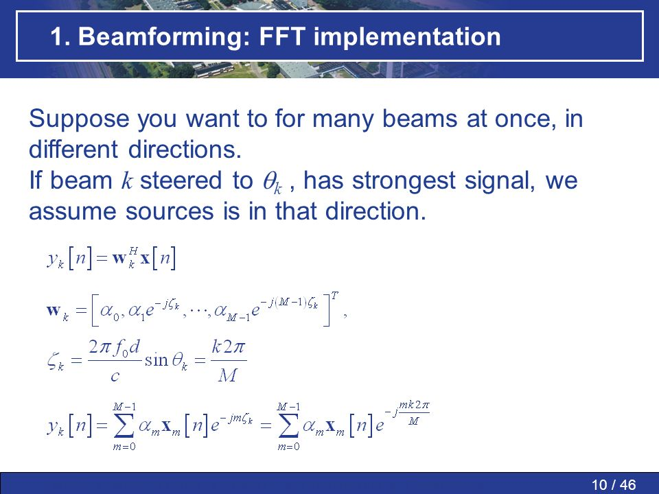 1. Beamforming: FFT implementation