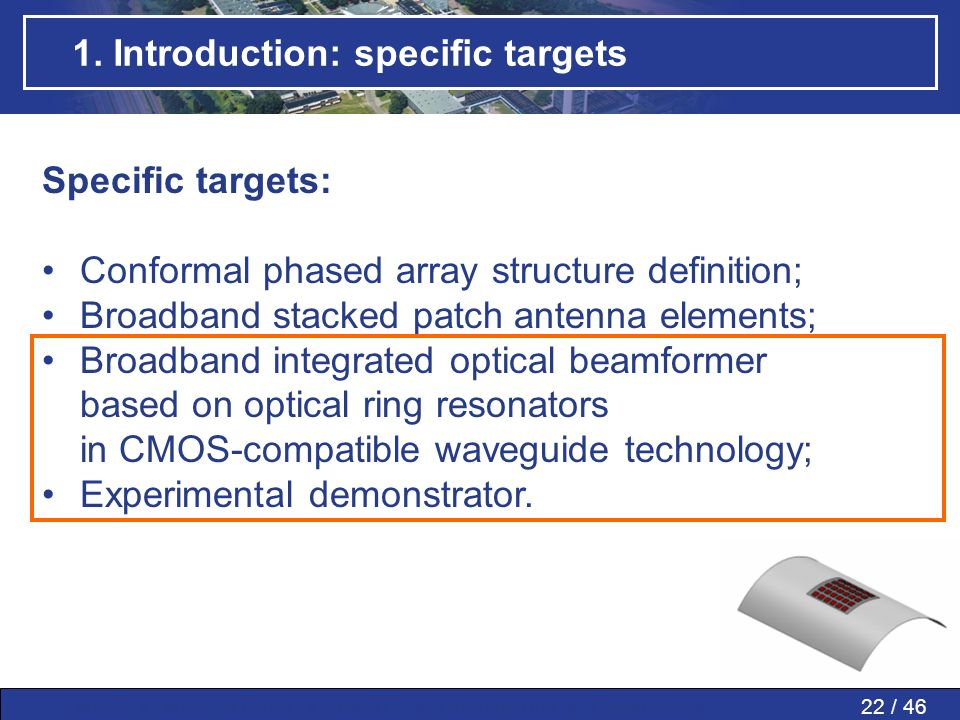 1. Introduction: specific targets