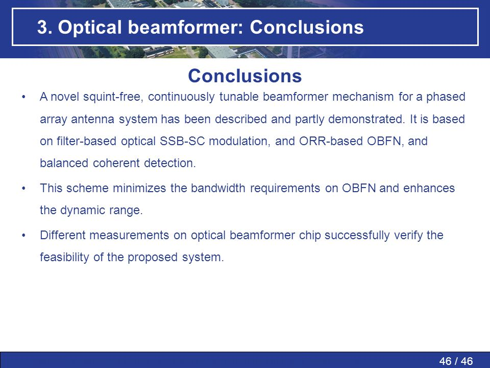 3. Optical beamformer: Conclusions