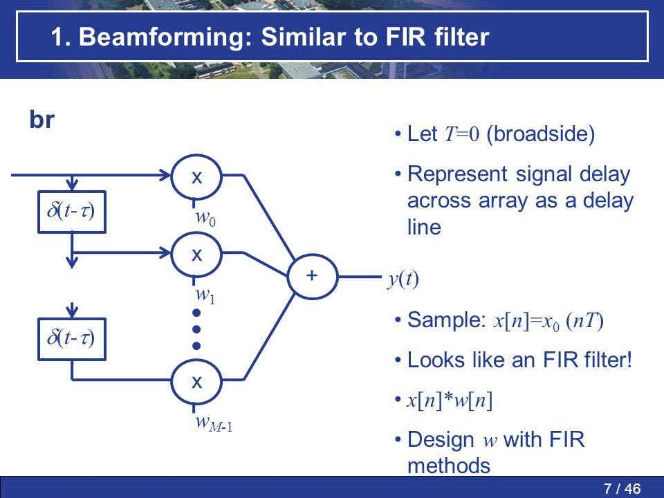 1. Beamforming: Similar to FIR filter
