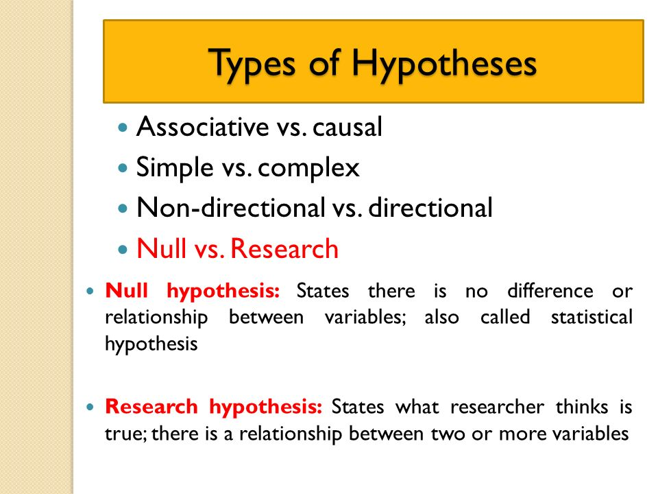 questions on null hypothesis and research Chapter 11: chi-square  statement of the null and research hypothesis:  determination is based on your research question, theory, or previous research.