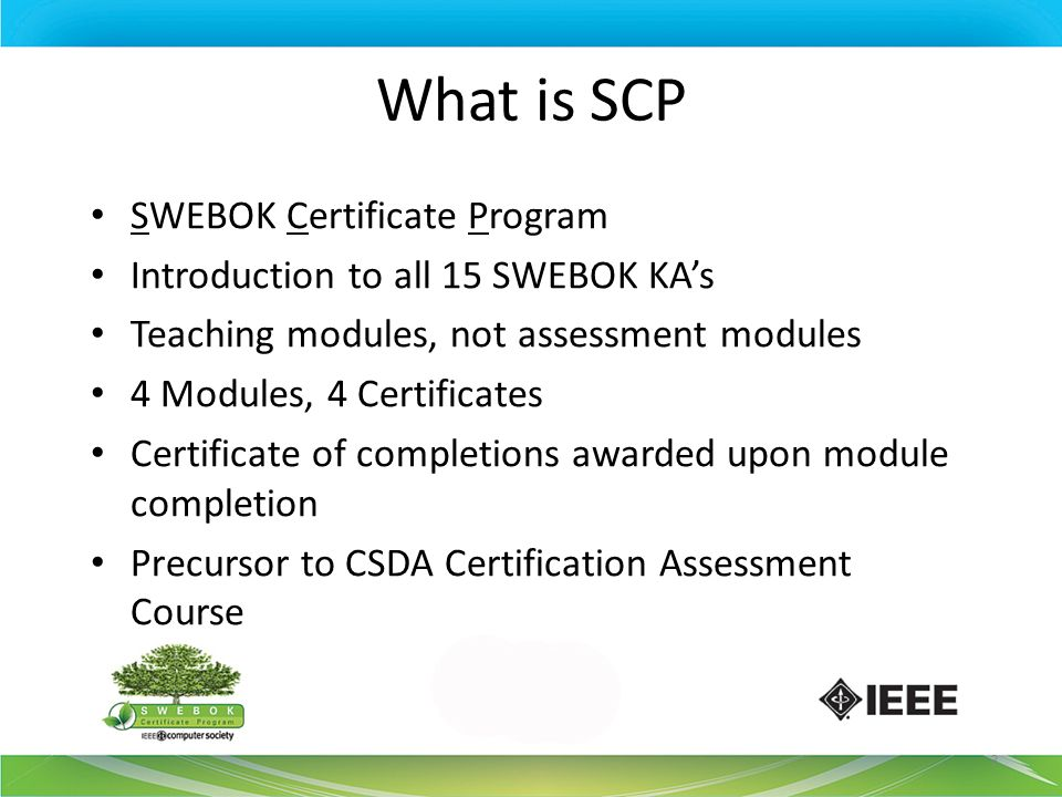 What is SCP SWEBOK Certificate Program