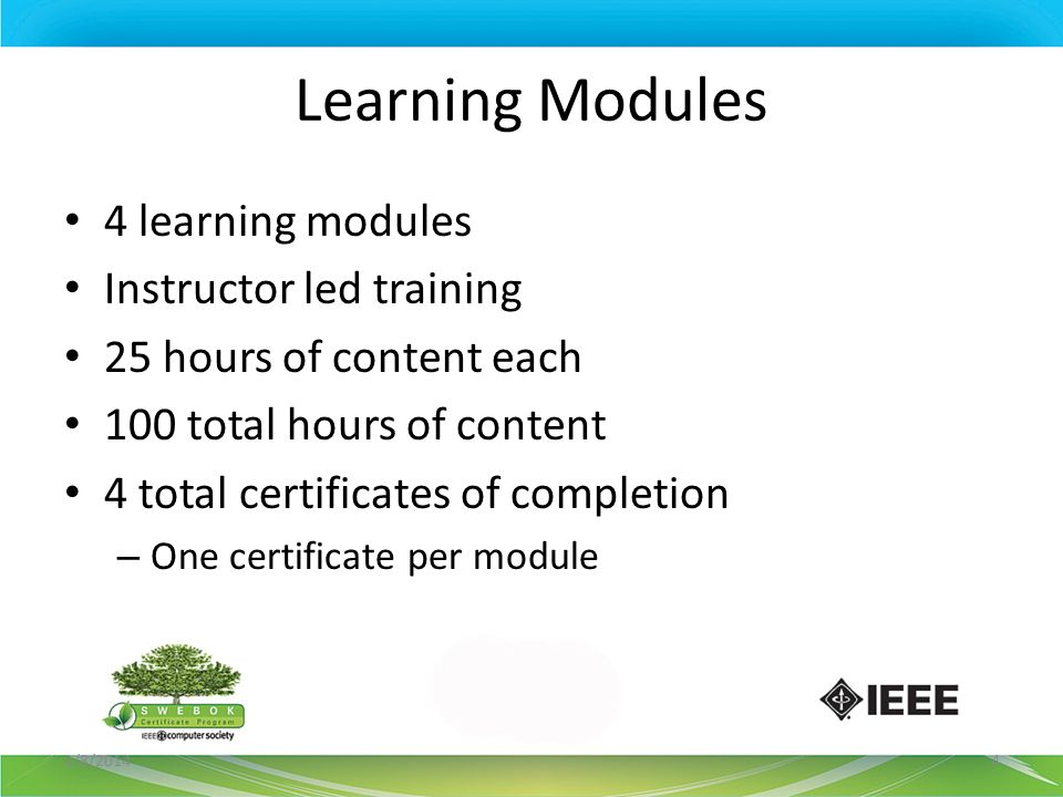 Learning Modules 4 learning modules Instructor led training