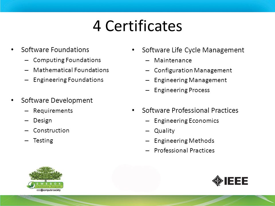 4 Certificates Software Foundations Software Life Cycle Management