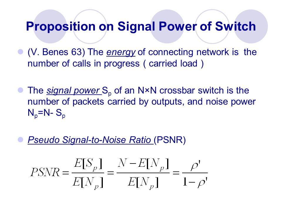 Proposition on Signal Power of Switch